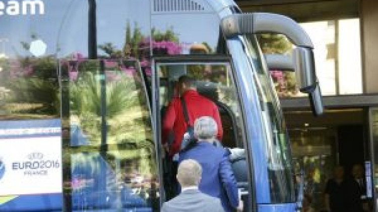 England's players and management have left their team hotel in Nice
