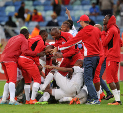 Free State Stars players celebrates victory during the 2016 Telkom Knockout match between Kaizer Chiefs and Free State Stars at Moses Mabhida Stadium, Durban South Africa on 06 Nomvember 2016 ©Muzi Ntombela/BackpagePix